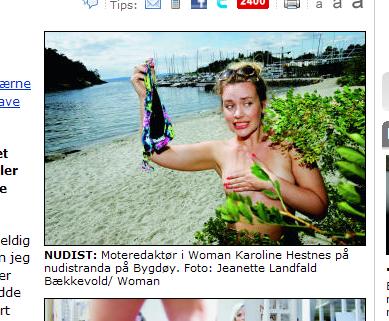 NUDIST: Moteredaktør i Woman Karoline Hestnes på nudistranda på Bygdøy. Foto: Jeanette Landfald Bækkevold/ Woman