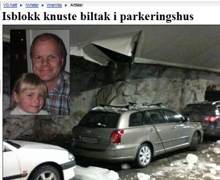 Isblokk knuste biltak i parkeringshus